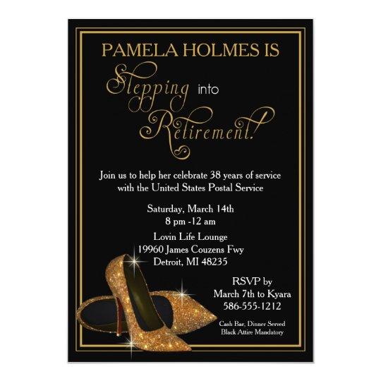 Gold Glitter Shoes Retirement Party Invitation
