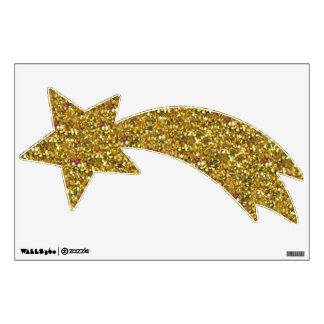 Gold Glitter Shooting Star Wall Decal