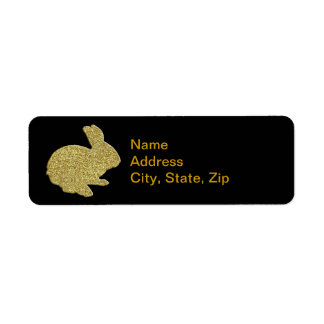 Gold Glitter Silhouette Easter Bunny Address Label