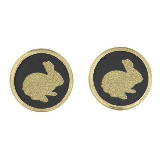 Gold Glitter Silhouette Easter Bunny Cufflinks