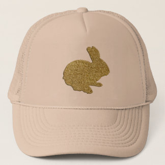 Gold Glitter Silhouette Easter Bunny Hat