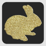 Gold Glitter Silhouette Easter Bunny Stickers