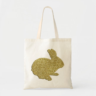 Gold Glitter Silhouette Easter Bunny Tote Bag