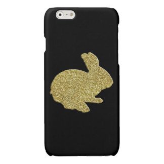 Gold Glitter Silhouette Rabbit iPhone 6 Case Glossy iPhone 6 Case