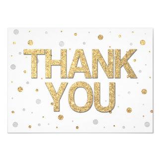 Gold Glitter Silver Foil Print Confetti Thank You Card