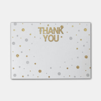 Gold Glitter Silver Foil Print Confetti Thank You Post-it® Notes