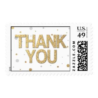 Gold Glitter Silver Foil Print Confetti Thank You Stamp