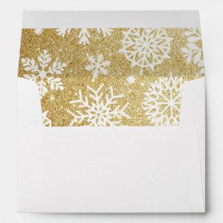 Gold Glitter Snowflake Holiday Christmas Envelope