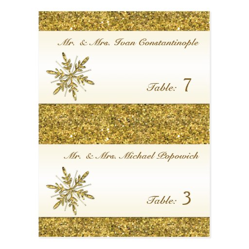 Gold Glitter Snowflake Pre-printed Placecards Post Cards