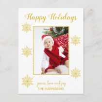 Gold Glitter Snowflakes Christmas Photo Happy Holiday Postcard