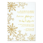 Gold Glitter Snowflakes Elegant Winter Wedding Card