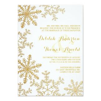 Gold Glitter Snowflakes Elegant Winter Wedding Card