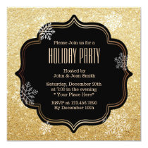 Gold Glitter Snowflakes Holiday Party Invitations