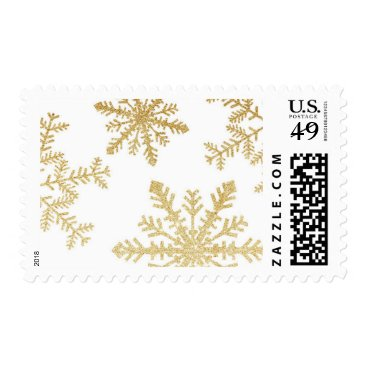 Christmas Themed Gold Glitter Snowflakes Holiday Postage Stamp