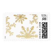 Gold Glitter Snowflakes Holiday Postage Stamp