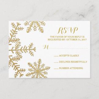 Gold Glitter Snowflakes Winter Wedding RSVP