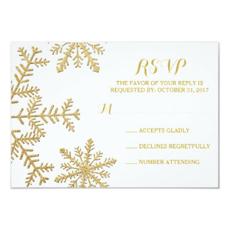 Gold Glitter Snowflakes Winter Wedding RSVP Card