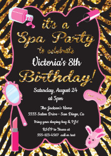 Spa birthday invitations zazzle gold glitter spa birthday party invitations filmwisefo