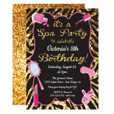 Nail Polish Spa Girls Birthday Party Invitations Zazzle Com