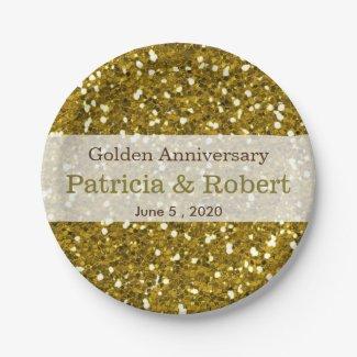 Gold Glitter Sparkle 50th Wedding Anniversary