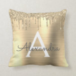 """Gold Glitter Sparkle Brushed Metal Monogram Name Throw Pillow<br><div class=""""desc"""">Gold Faux Foil Metallic Sparkle Glitter Brushed Metal Monogram Name and Initial Pillow. The pillow makes the perfect sweet 16 birthday,  wedding,  bridal shower,  baby shower or bachelorette party gift for someone decorating her room in rose gold.</div>"""