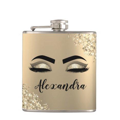 Gold Glitter Sparkle Eyelashes Monogram Name Flask
