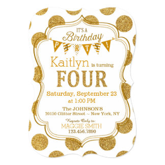 Gold Glitter Sparkle Fourth Birthday Invite