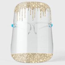 Gold Glitter Sparkle Glam Luxury Salon Face Shield