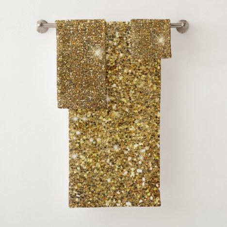 Gold Glitter Sparkle Glittery Sparkly Pretty Bath Towel Set