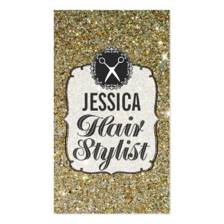 GOLD Glitter Sparkle Hair Stylist Appointment Double-Sided Standard Business Cards (Pack Of 100)