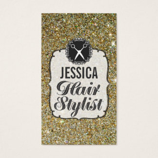 GOLD Glitter Sparkle Hair Stylist Appointment Business Card