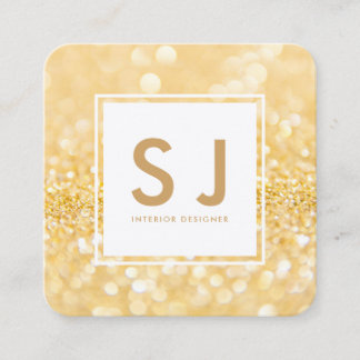 Gold Glitter Sparkle Modern Interior Designer Square Business Card