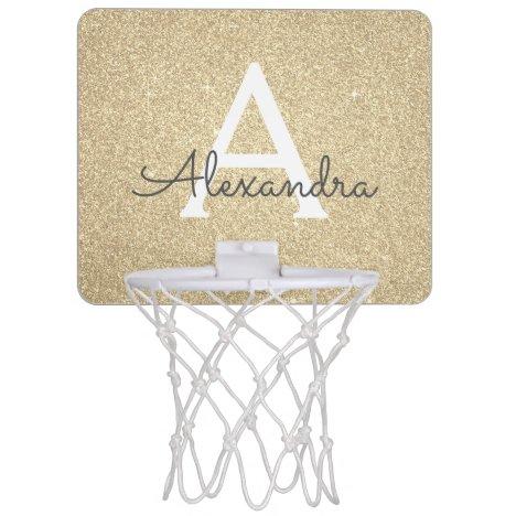 Gold Glitter & Sparkle Monogram Name Mini Basketball Hoop