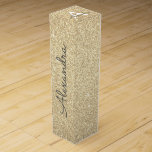"""Gold Glitter & Sparkle Monogram Wine Box<br><div class=""""desc"""">Gold Faux Glitter and Sparkle Elegant Wine Gift Box. This Wine Gift Box can be customized to include your initial and first name and makes a great birthday party,  anniversary,  bachelorette party,  bridal shower gift.</div>"""