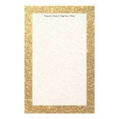 Gold Glitter Sparkle Pattern Background Stationery at Zazzle