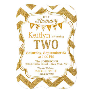 Gold Glitter Sparkle Second Birthday Invite
