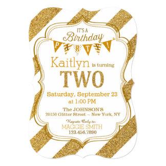 Gold Glitter Sparkle Stripe Second Birthday Invite