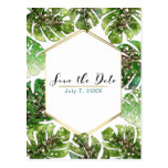 Gold Glitter Sparkle Tropical Leaves Save the Date Postcard