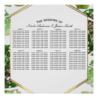 Gold Glitter Sparkle Tropical Leaves Seating Chart