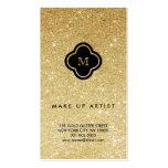Gold Glitter Sparkles Chic Quatrefoil Profile Card Business Card