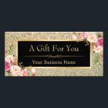 """Gold Glitter Sparkles Floral Gift Certificate Card<br><div class=""""desc"""">================= ABOUT THIS DESIGN ================= Gold Glitter Sparkles Floral Gift Certificate Card. (1) For further customization, please click the &quot;Customize it&quot; button and use our design tool to modify this template. All text style, colors, sizes can be modified to fit your needs. (2) If you need help or matching items,...</div>"""