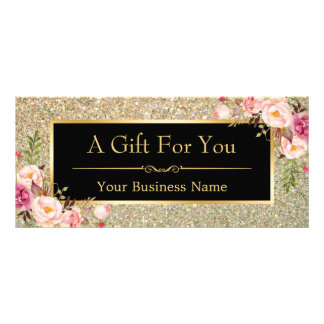 Gold Glitter Sparkles Floral Gift Certificate Card