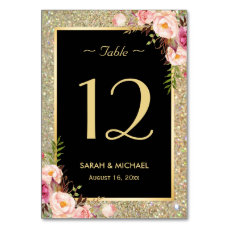 Gold Glitter Sparkles Floral Wedding Table Number