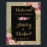 "Gold Glitter Sparkles Floral Wedding Welcome Sign<br><div class=""desc"">================= ABOUT THIS DESIGN ================= Gold Glitter Sparkles Floral Wedding Welcome Sign Poster. Floral Navy Blue Stripes Wedding Reception Sign Template. (1) The default size is 8 x 10 inches, you can change it to any size. (2) For further customization, please click the &quot;Customize it&quot; button and use our design...</div>"
