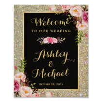 Gold Glitter Sparkles Floral Wedding Welcome Sign