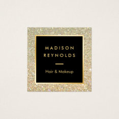 Gold Glitter Sparkles Modern Fashionable Square Business Card at Zazzle