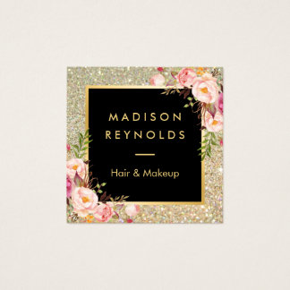 Gold Glitter Sparkles Pink Floral Beauty Salon Square Business Card