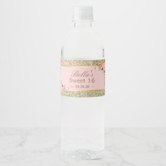 Gold Glitter Sparkles Pink Floral Sweet 16 Party Water Bottle Label