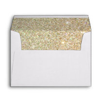 Gold Glitter Sparkles Pink Floral Wedding 5x7 Envelope