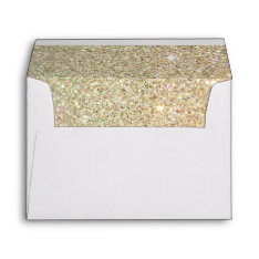Gold Glitter Sparkles Pink Floral Wedding 5x7 Envelope at Zazzle
